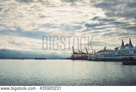 Vancouver, British Columbia, Canada - June 15, 2018. Vancouver Harbor View On Early Morning. Canada