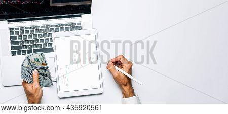 Finance App. Investment Business Technology App On Digital Screen. Finance Application For Sell, Buy