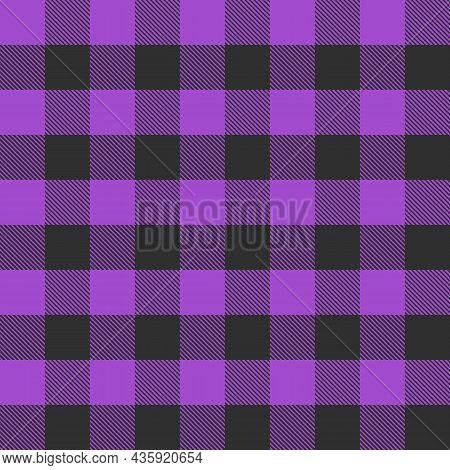 Violet And Black Scotland Textile Seamless Pattern. Fabric Texture Tartan Plaid. Abstract Geometric