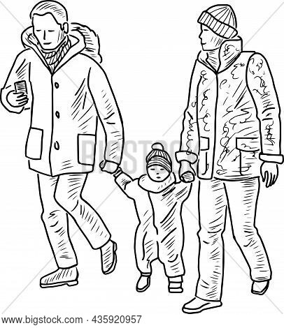 Outline Drawing Of Family Citizens With Baby Walking Outdoors Together