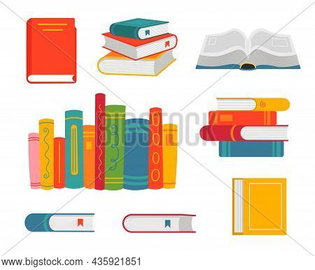 Cartoon Open And Closed Books Set. Vector Illustrations Of Stack Of Books, Educational Textbook From