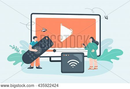 Tiny People With Remote Control Watching Tv, Video Or Movie. Man And Woman Using Receiver, Console O