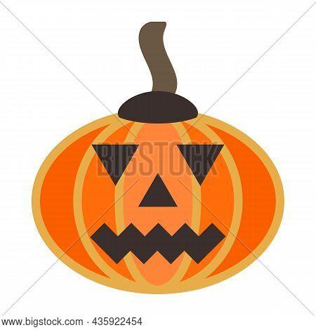 Orange Scary Smiling Pumpkin. Halloween Holiday Main Symbol. Orange Squash With Carving Smile, Eyes