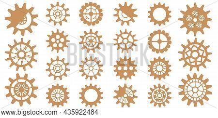 Steampunk Gear Set. Vintage Cogwheels And Gears