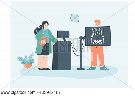 Male Cartoon Character Getting X-ray At Clinic. Radiologist Making Diagnosis Flat Vector Illustratio