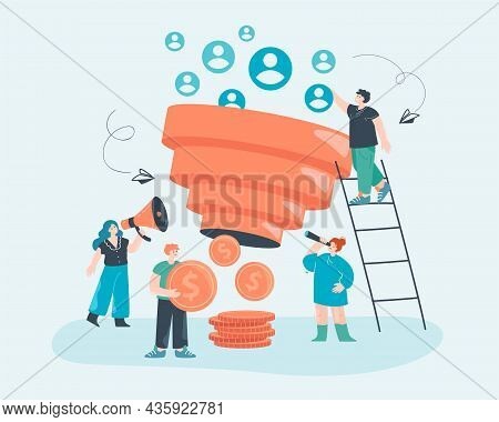 Smm Team Generating Money, Using Sales Funnel. Tiny People Attracting Audience Of New Followers For