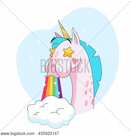 Cute Unicorn Cartoon Character With Rainbow From Mouth Sticker. Emoticon Of Fairy Horse With Starry