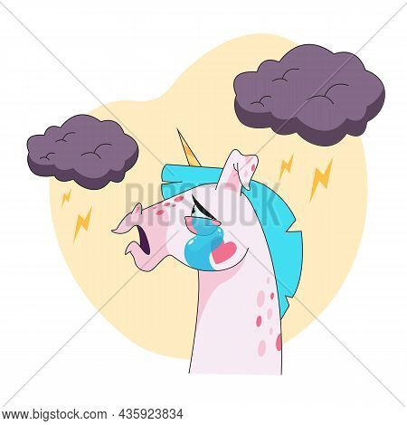 Unicorn Cartoon Character Crying Sticker. Emoticon Of Sad Fairy Horse In Profile, Clouds And Lightin