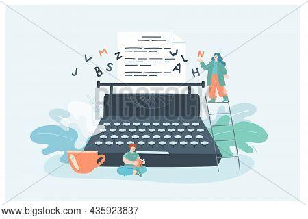 Creative Tiny Female Author With Typewriter Writing Novel. Woman Writing Story Chapter, Man Reading