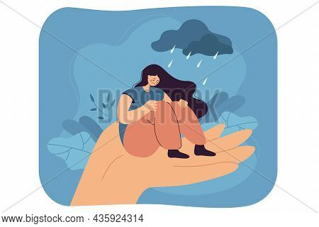 Lonely Unhappy Woman Sitting On Hand Under Rainy Cloud Of Problems. Grief, Sorrow, Stress Cartoon Ve