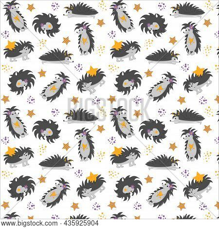 Seamless Pattern With Hedgehogs And Stars With Transparent Background