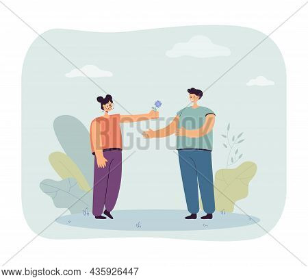 Woman Giving Flower To Man On Dating. Happy Girl Holding Surprise Love Gift Flat Vector Illustration
