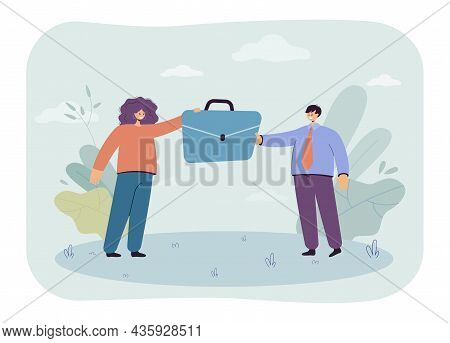 Hr Manager Giving Briefcase To Businessman. Handover Job Position Between Tiny Female And Male Chara