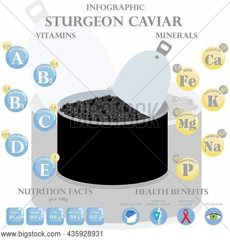 Sturgeon Caviar Nutrition Facts And Health Benefits Infographic On The White Background. Vector Illu