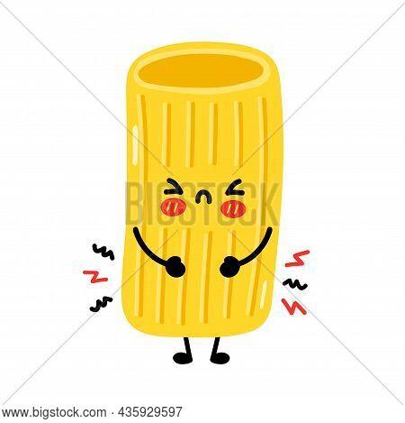 Cute Sad Funny Macaroni Pasta Noodles Character. Vector Hand Drawn Cartoon Kawaii Character Illustra
