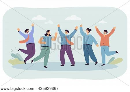 Business Team Celebrating Success Vector Illustration. Happy Office Workers Jumping, Laughing. Victo