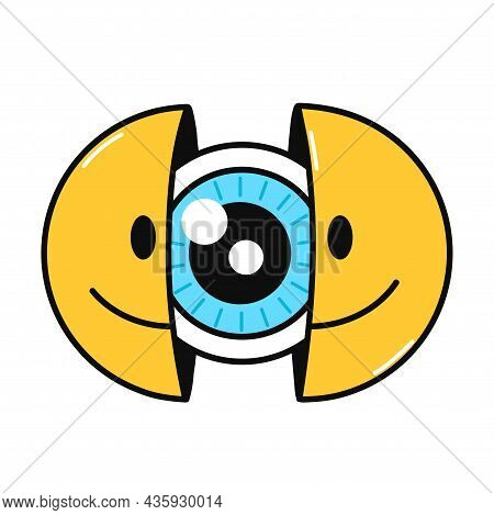 Two Half Of Smile Face With Eye. Vector Hand Drawn Doodle Cartoon Character Illustration. Isolated O