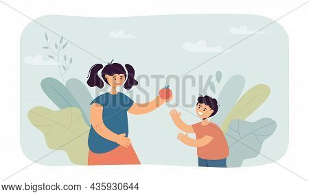 Girl Giving Apple To Little Boy, Sharing Food To Friend. Cute Child Holding Fruit In Hand Flat Vecto