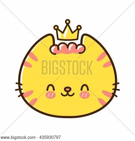 Cute Funny Little King Baby Cat Face With Crown. Vector Hand Drawn Cartoon Kawaii Character Illustra