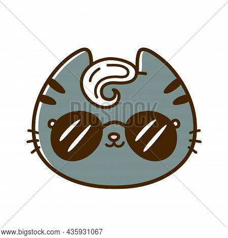 Cute Funny Cool Little Baby Cat Face With Sunglasses. Vector Hand Drawn Cartoon Kawaii Character Ill