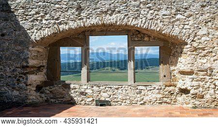 Stone Windowspissky Hrad Castle Ruin Near Spisske Podhradie Town Or Village, Spis Region, Slovakia,