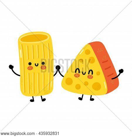 Cute Funny Macaroni Pasta Noodles And Cheese Character. Vector Hand Drawn Cartoon Kawaii Character I