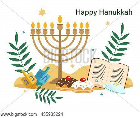 Hanukkah Greeting Card. Jewish Holiday. Menorah, Star Of David, Torah, Donuts. Vector Illustration I