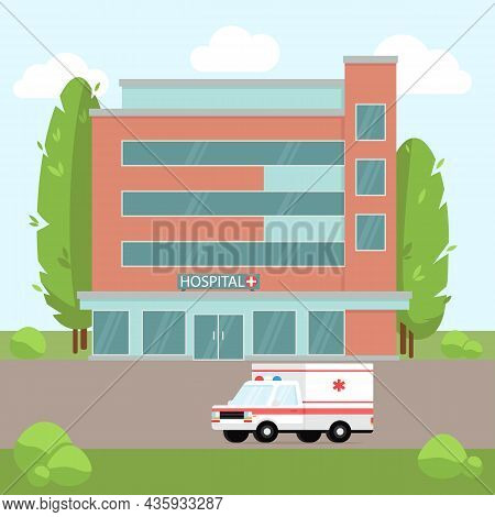 Medical Concept With Hospital Building In Flat Style. Landscape Of The City With A Hospital Building