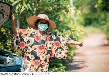 Tourist Woman Call For Help Of Car Breakdown. Lady Help Of Car Breakdown. Old Woman Waving For Help