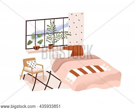 Home Bedroom Interior Design. Cozy Empty Room With Comfortable Bed, Blanket, Pillows, Window, House