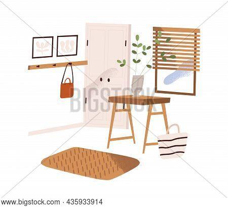 Home Hallway Interior Design. Modern Cozy Antechamber With Door, Window, Hook, Plant And Decor. Entr