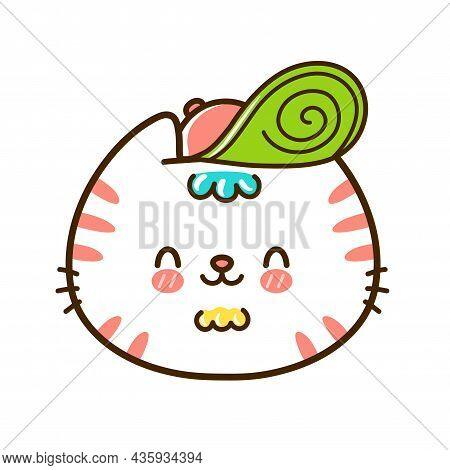 Cute Funny Little Baby Cat Face With Hat. Vector Hand Drawn Cartoon Kawaii Character Illustration Lo