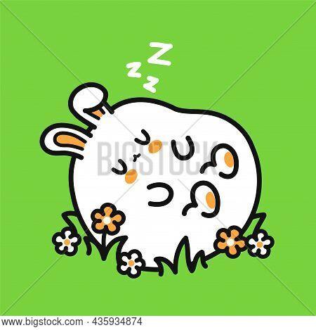 Cute Funny Sleeping Rabbit Character. Vector Hand Drawn Cartoon Kawaii Character Illustration Icon.