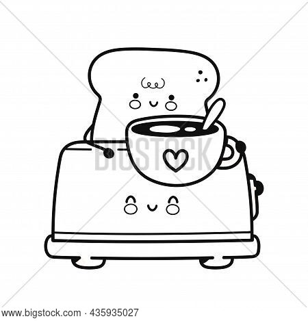 Cute Happy Toast In Toaster With Coffee Mug Page For Coloring Book. Vector Flat Line Cartoon Kawaii