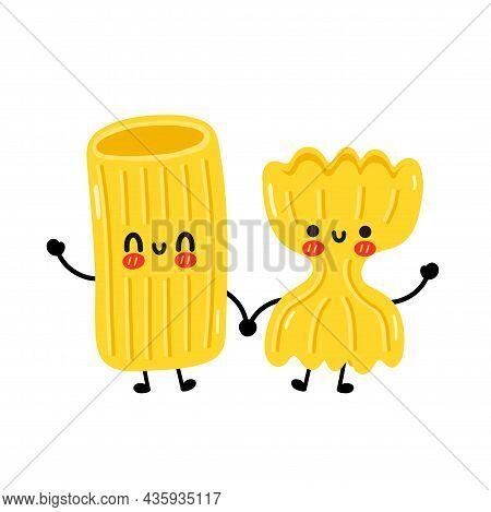 Cute Funny Macaroni Pasta Noodles Couple Character. Vector Hand Drawn Cartoon Kawaii Character Illus