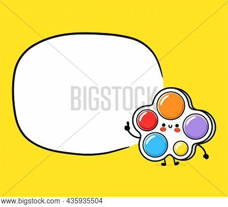 Cute Funny Simple Dimple With Text Box. Vector Hand Drawn Cartoon Kawaii Character Illustration Icon