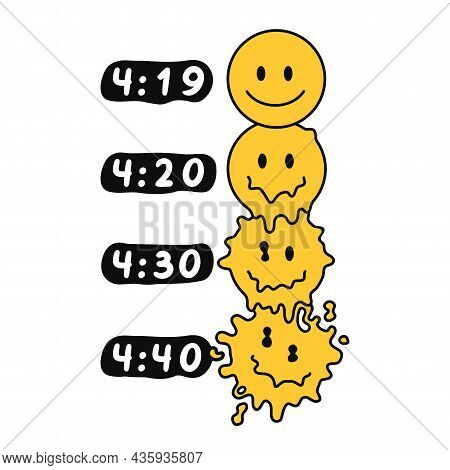 Funny Melt Smile Faces. 420 Marijuana, Weed, Cannabis Print For Poster, T-shirt, Card. Vector Hand D