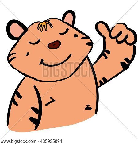 Happy Tiger Cartoon Character And Ok Sign,