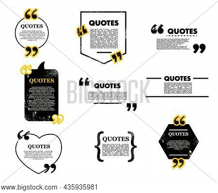 Quote Bubble And Box, Chat Message, Comment And Note Quote Icons. Vector Frames For Texting, Blank T