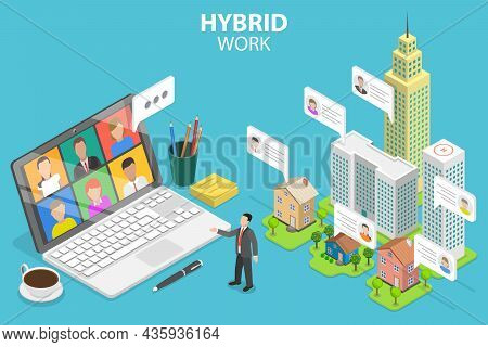 3d Isometric Flat Vector Conceptual Illustration Of Hybrid Work, Remotely Work From Home