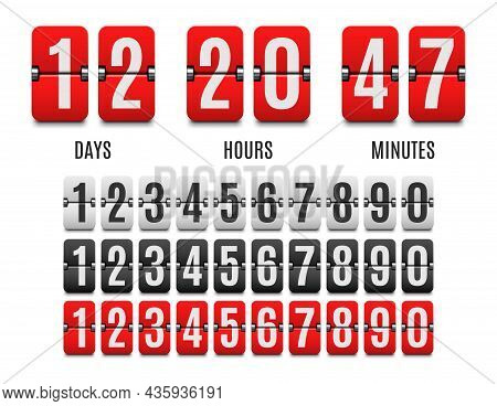 Flip Countdown Clock Counter, Count Down Flip Board, Time Chronometer. Vector Timer With Days, Hours