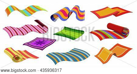 Isolated Carpets, Beach Or Cloth Mats, Floor Rugs With Striped Pattern, Vector. Home Interior Carpet