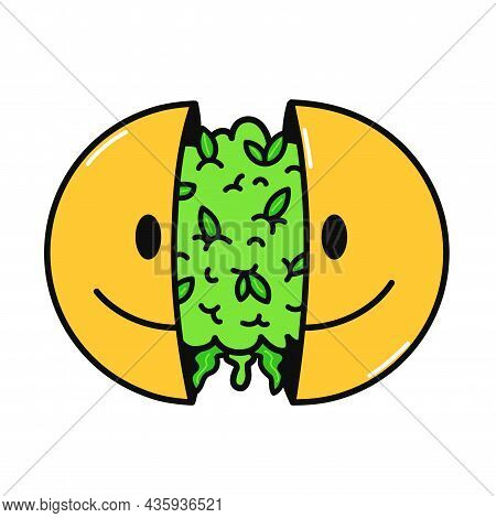 Two Half Of Smile Face With Cannabis Bud Inside. Vector Hand Drawn Doodle Cartoon Character Illustra