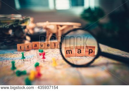 Magnifying Glass With Wood Square With Word