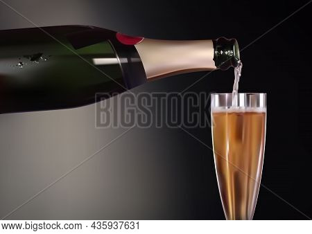 Champagne Bottle And Wineglass Background For Use In Graphic Design For Celebration, Birthday, Anniv