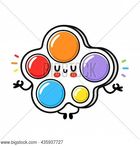 Cute Funny Simple Dimple Meditate Toy. Vector Hand Drawn Cartoon Kawaii Character Illustration Icon.
