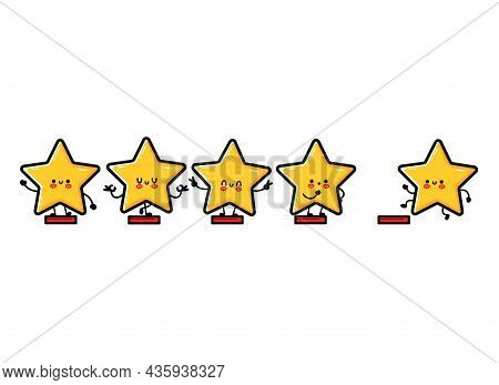 Happy Cute Smiling Funny 5 Stars. Vector Flat Doodle Cartoon Character Illustration Icon Design.isol