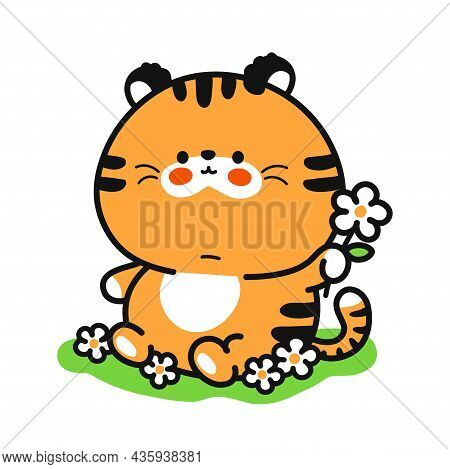 Cute Funny Baby Tiger With Flower Character. Vector Hand Drawn Cartoon Kawaii Character Illustration