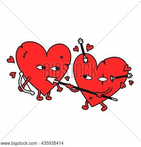 Funny Hearts Fight. Vector Hand Drawn Doodle Cartoon Illustration Icon. Isolated On White Background