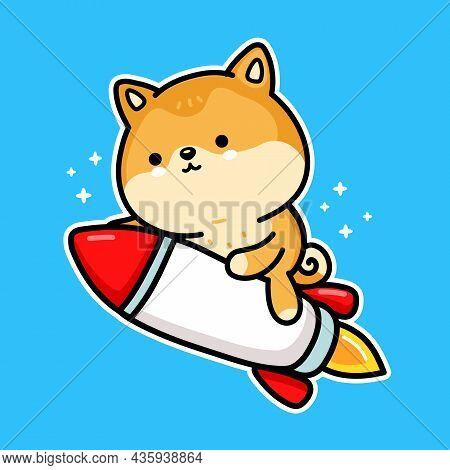 Cute Funny Akita Inu Dog Dogecoin Character Fly On Rocket. Vector Hand Drawn Cartoon Kawaii Characte